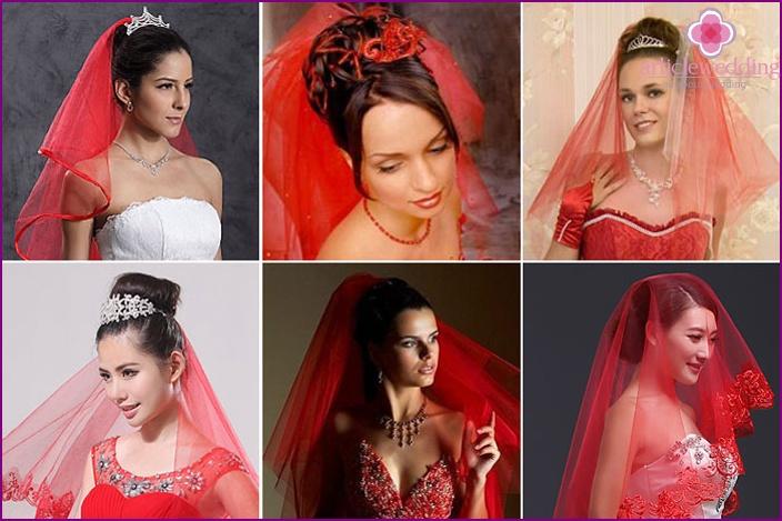 Red bride wedding veil