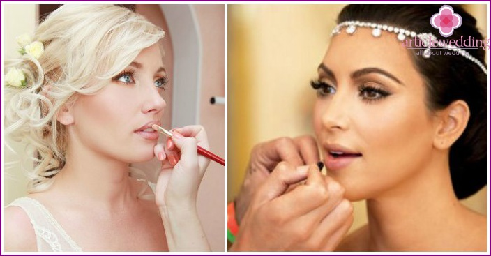 Lipstick and lip contour for a blonde bride
