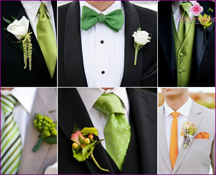 Green groom outfit decor elements