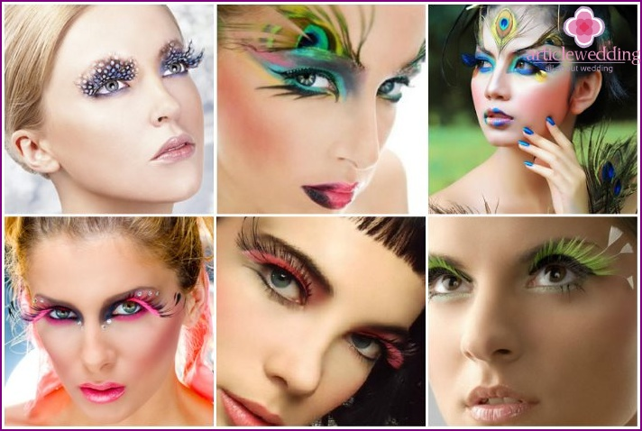Feathers of birds - a creative find for wedding makeup