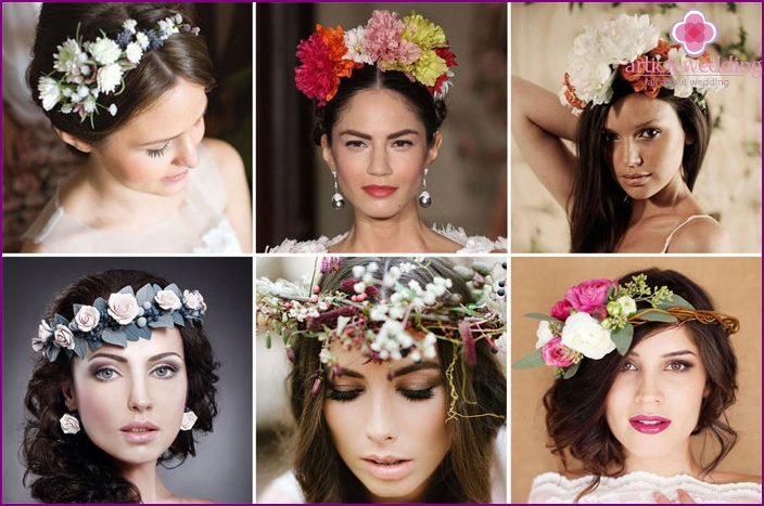 A floral wreath will add charm to your wedding look.