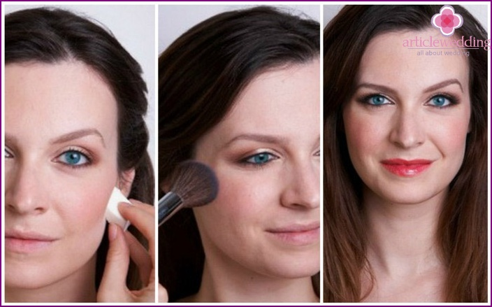 Wedding makeup for gray eyes: step-by-step photos about the make-up instruction for the bride