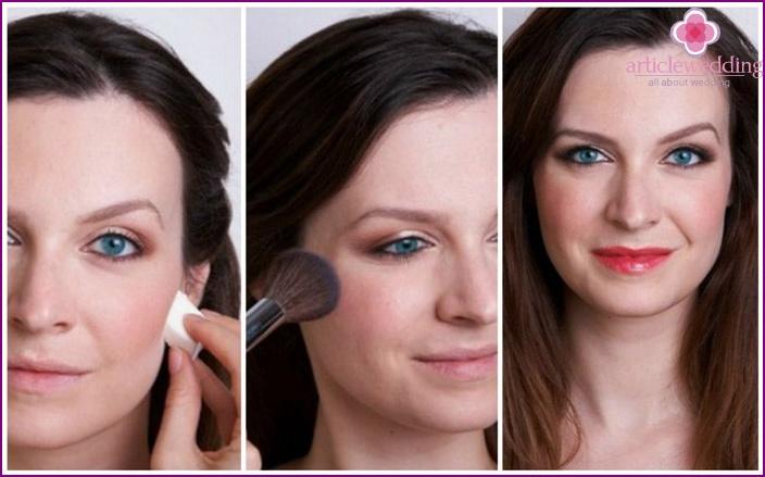 Hochzeits Make-up für graue Augen: Schritt-für-Schritt-Fotos über die Make-up-Anleitung für die Braut