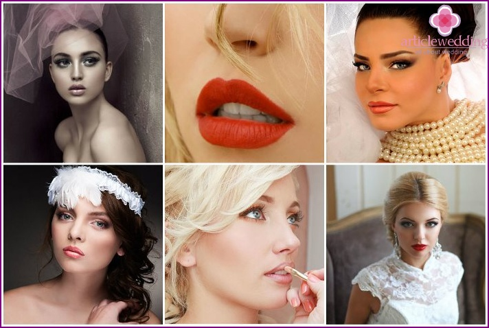 Makeup lips of the bride