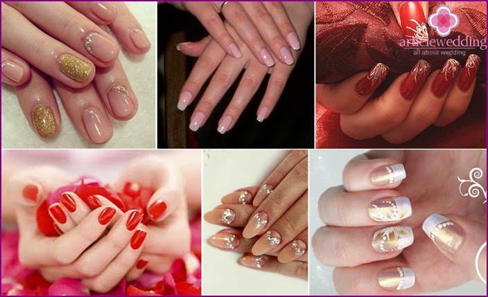 Wedding manicure - with different color of varnish