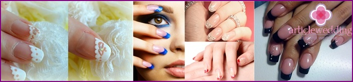 French manicure for a bride for a wedding