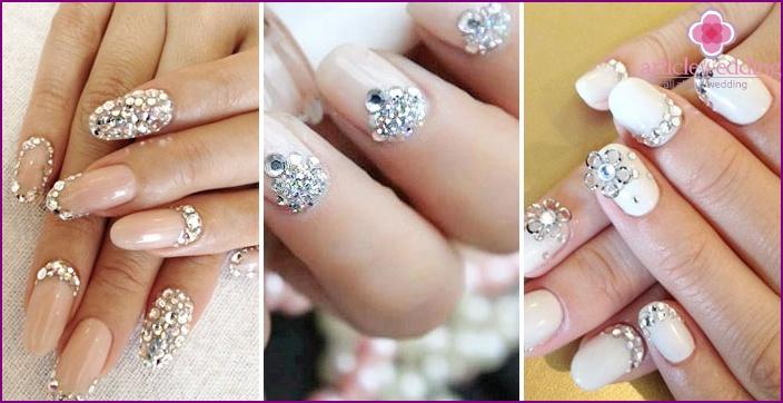 Wir dekorieren Nägel für die Hochzeit mit Swarovski-Kristallen