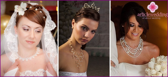 Newlyweds in unusual jewelry.