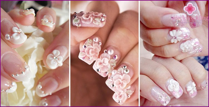 Three-dimensional figures with pebbles for nails for a wedding