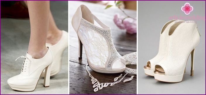 Wedding dress and shoes should look harmonious