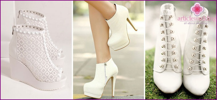 White wedding ankle boots - what are good and how to choose them, photo