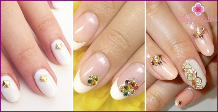 Colored crystals on nails for a wedding