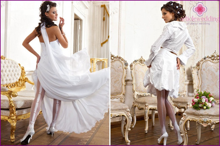 Tights for the bride with a seam