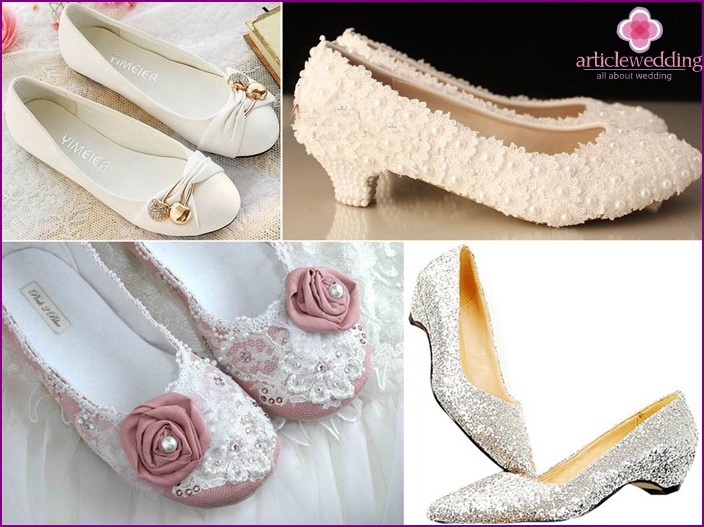 Flat shoes for a stylish bride