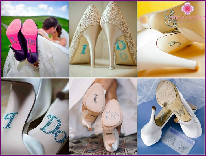 Decoration of the sole of the shoes of the bride and groom with rhinestones