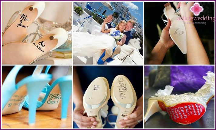 Markings on the shoes of the bride