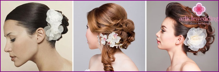 Flower comb accentuates the image of the bride