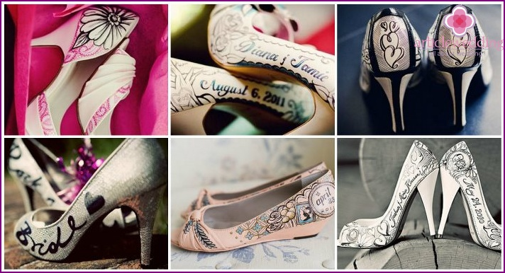 Exclusive painting on the shoes of the bride