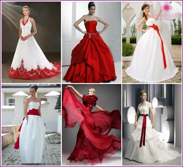 Wedding dress under scarlet shoes