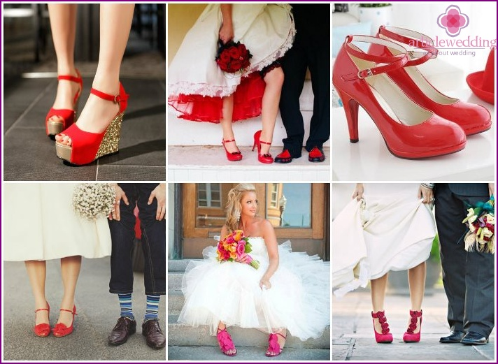 Red shoes for a wedding: tips for choosing, popular models with photos