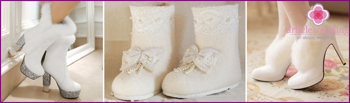 Fur boots and uggs for the bride