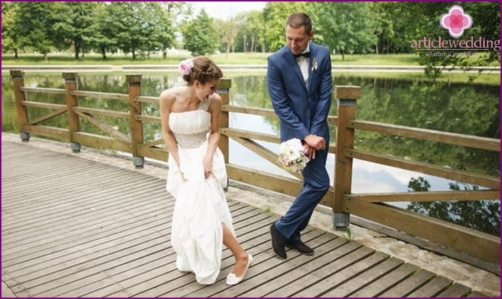 Girl getting married in ballet shoes