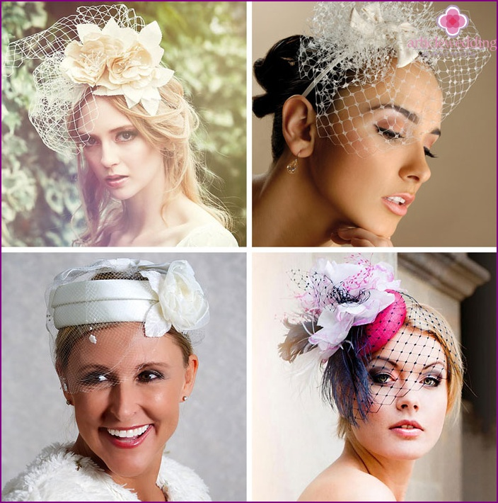 A hat or a veil will complement an exquisite wedding toilet