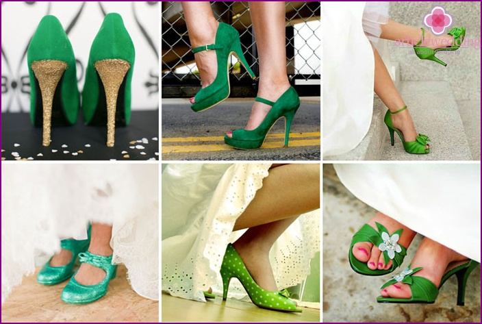 Green shoes for the bride