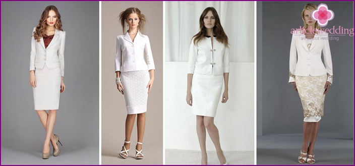 White skirt suit for the bride