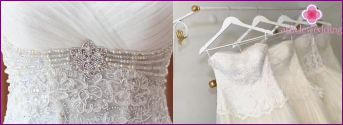 Beads on a white corset