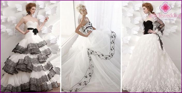 Mustavalkoiset värit morsiamen mekkoissa.