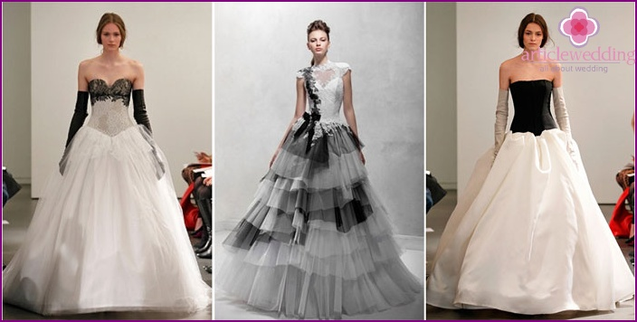 Black and white wedding dress of the bride and groom