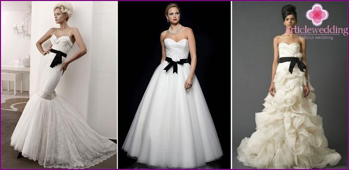 White wedding dress with a black belt