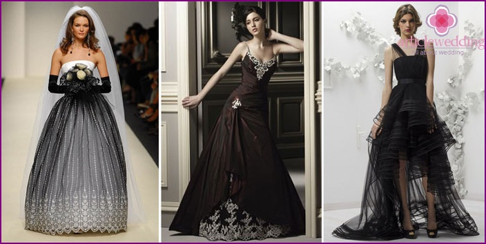 Models of dresses of black color for the bride and groom