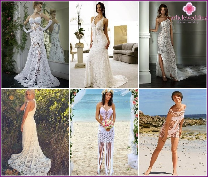 Openwork wedding dresses for the ceremony on the beach.