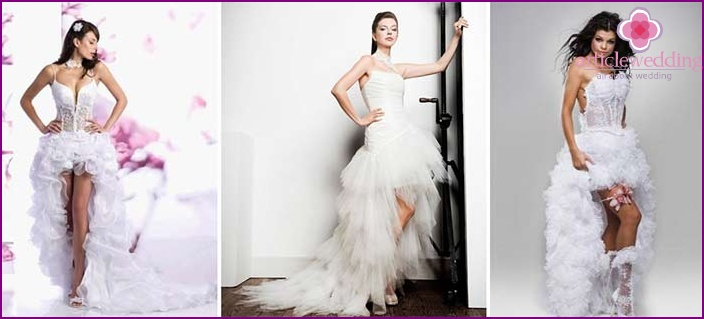 The image of the bride and groom: an outfit with an asymmetric skirt