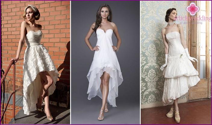 Asymmetrical petticoat bride outfit