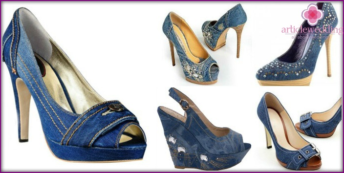 Denim wedding shoes for the bride