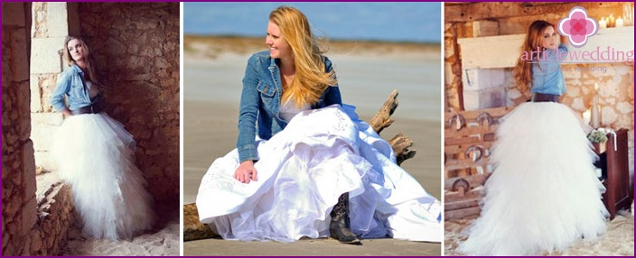 Denim wedding bolero for the bride
