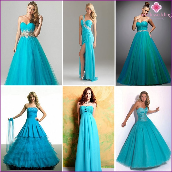 Turquoise outfit of the bride and groom