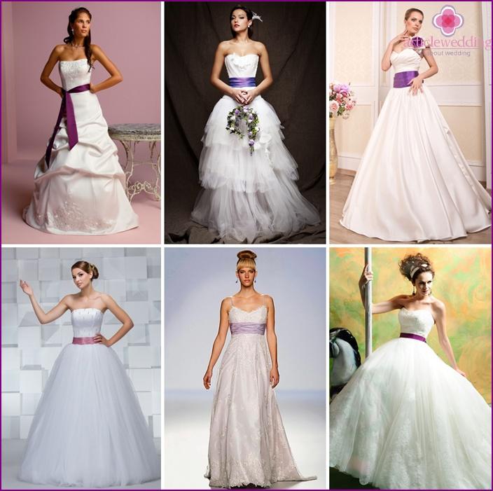A contrast belt will accentuate the bride's waist