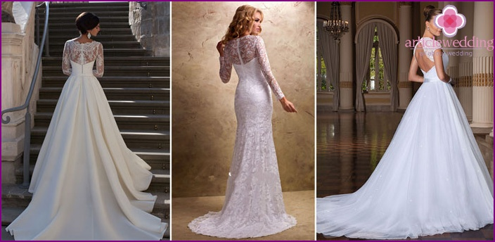 Open back and sleeves in wedding dresses