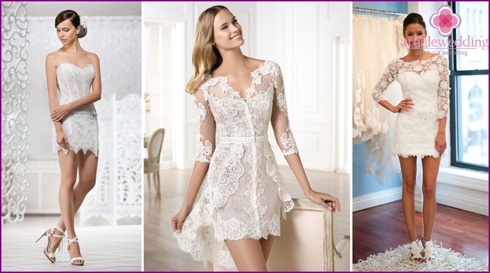 Lace mini dress for the bride