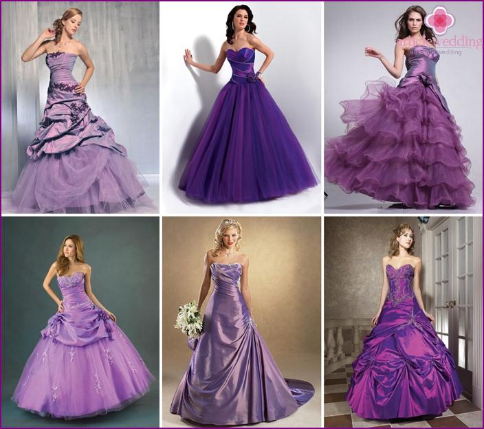 Fashionable purple wedding dresses