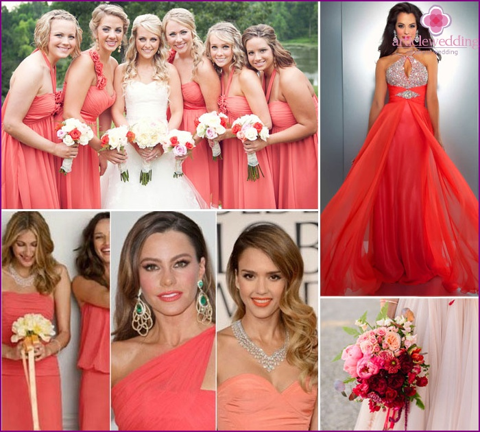 Accessories under the pale pink dress of the bride