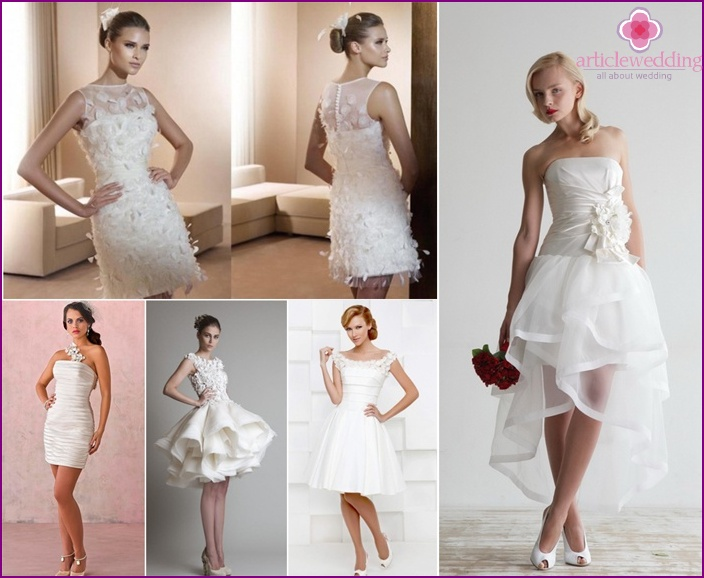 Collection of short wedding dresses