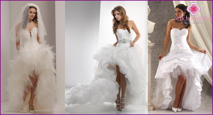 The image of the bride: short, luxurious lace dresses with a train