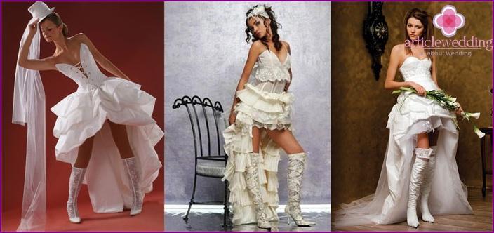 Amazon style: short wedding dress with a train