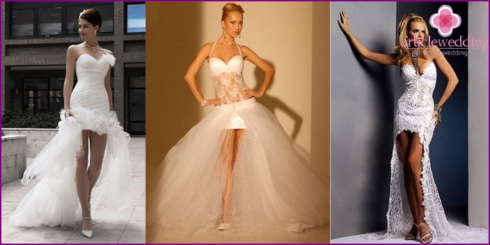 Narrow styles of short wedding dresses with a train