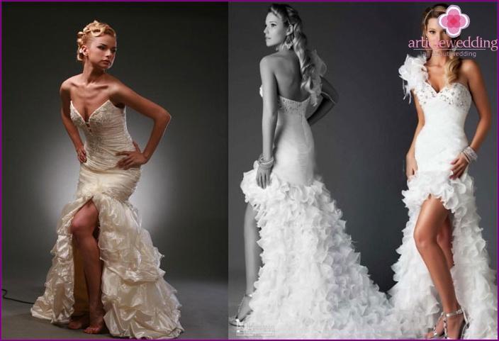 Short wedding dress with a Little Mermaid train